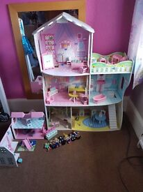 DOLLS HOUSE, SCHOOL, AND ALL ACCESSORIES this cost over £170 new including rosebud sets and doll