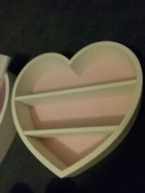 2 x Heart shaped white wooden shelf bedroom, pink interior.