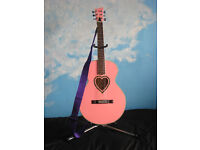 Pink JJ Heart Acoustic Guitar, Good Condition, Easy Player, with bag and strap