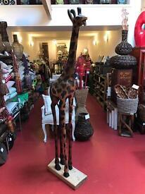 Giant Handmade Carved Wooden Giraffe African
