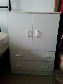 White bedside cabinet with 2 drawers