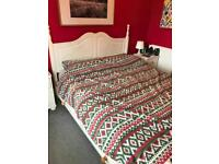 King size bed wooden bed frame - chalk painted