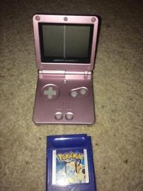 Gameboy pink sp and Pokemon blue