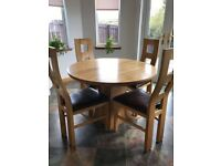 Oak Furnitureland 4 Seater Round Dining Table and Chairs Set- Natural Oak