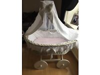 Baby Moses basket with stand excellent condition