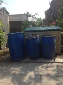 1 x 205 litre plastic barrel 2 x 120 litre barrels drum container