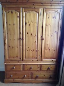 WARDROBE gentleman's solid wood triple wardrobe with drawer storage underneath - HILLSBOROUGH AREA