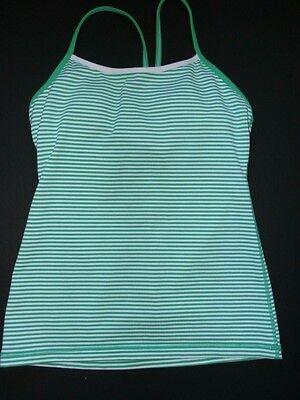 Lululemon Athletica SZ 8 Power Y Tank Top Green White Stripe Women Yoga Workout