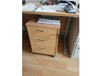 Two Office Desks and Pedestals in light oak immaculate condition nearly new