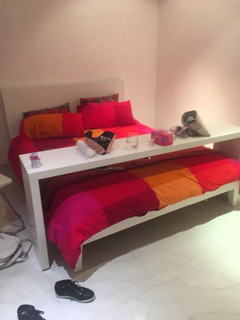 Ikea malm king size bed frame with/without sliding console table