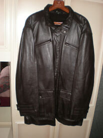 Mans Long Very Dark Brown Soft Leather Jacket