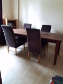 Solid Oak Large Dining Table with 5 chairs upholstered in grey velvet. LOW PRICE as needs some tlc