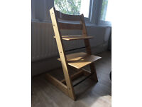 Stokke Tripp Trapp chair (natural wood) with baby set and cushion. Collect from Teddington.