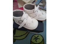 White designer baby boots size 17 as good as brand new cost £50 accept £25