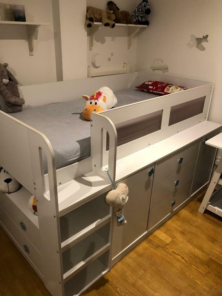 Loft Bed Storage Bunk Bed Kids Children Single Bed Excellent In St