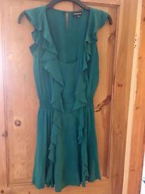 Warehouse Silk Green Dress, Size 12