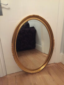 Gilt/Gold Oval Ornate Mirror