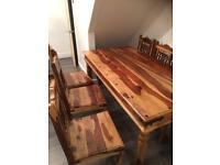 Hardwood table an 6 chairs