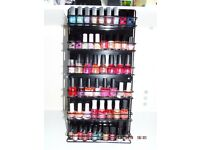 Nail Polish collection of multiple colours and makes in a wall mountable stand (54 Nail Polish)
