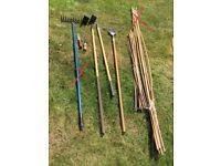 Various garden equipment: tools, hoses, tunnels, nets etc
