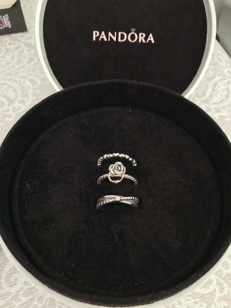 Pandora Stacking Rings - size 54 in perfect condition with gift box or bag