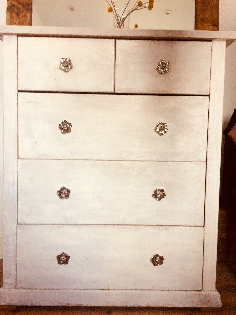Paris Grey And Old White Painted Chest Of Drawers