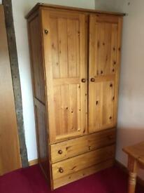 Job lot pine wardrobe, desk and small set of drawers