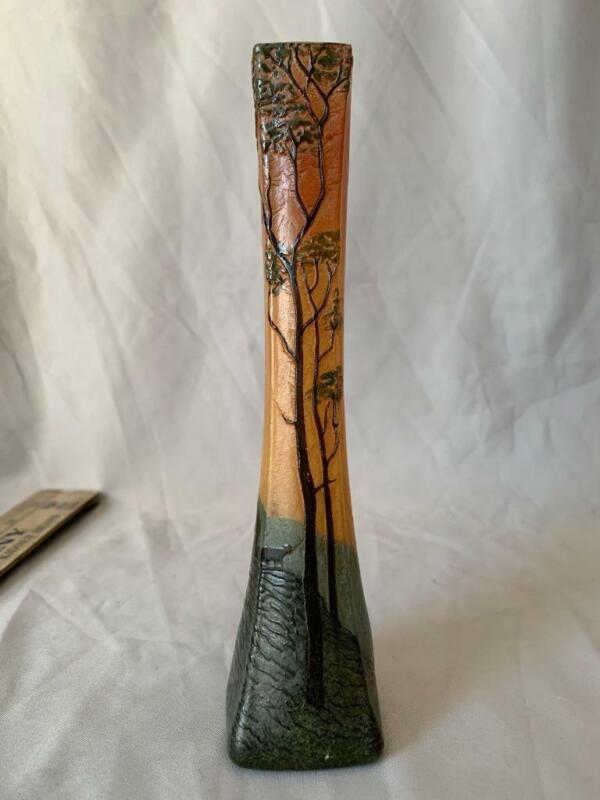"Legras Scenic Enameled Cameo Art Glass Bud Vase 7"" Antique Circa 1910 Nice!"