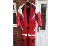 Motorbike Leathers. Hardly Worn One Piece Leather Suit. GP Leathers. Red. 3XL. Bargain Price