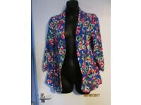 BLUE FLORAL PATTERNED KIMONO TYPE JACKET SIZE 14 BY NEW LOOK