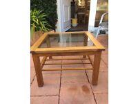 Oak/glass coffee table