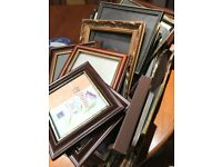 BOX OF MIXED PHOTOGRAPH FRAMES WOODEN SILVER BLACK