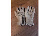 Ladies Leather Motorcycle Gloves Small in White