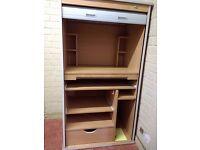 Light Oak small storage/writing unit - good condition