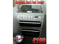 Dual Fuel Cooker 60cm Double Oven Silver Hotpoint