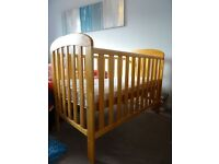 East Coast Anna drop side cot with mattress