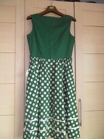 Green and White Polka DotSwing Dress