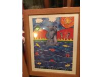 Colourful hippo framed picture