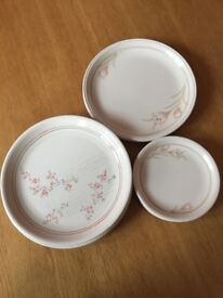 Set of plates and saucers + extra plates