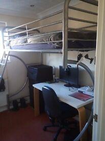 Single Bed Frame, Loft Bed, Metal