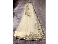 Yellow net sari/ 9 yards material