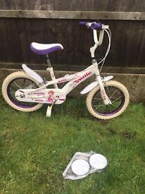 "GIRLS SONIC BELLE BIKE 14"" with bell, new stabilisers available for £5 if needed"