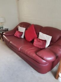Leather 3 Seater Sofa & Chair in Wine Gods Condition