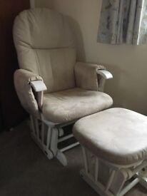 Reclinable gliding nursing chair and foot stool