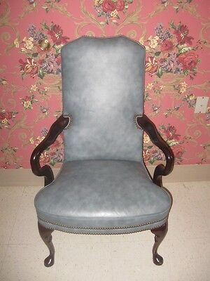 Classic Leather Blue Wing Back Chair Cherry Georgian Court  Queen Anne Legs for sale  Sargent