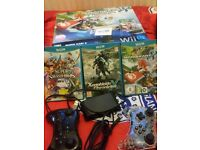 Wii U bundle 32gb, box,manuals,all wires, game pad + 2 controllers & 3 games