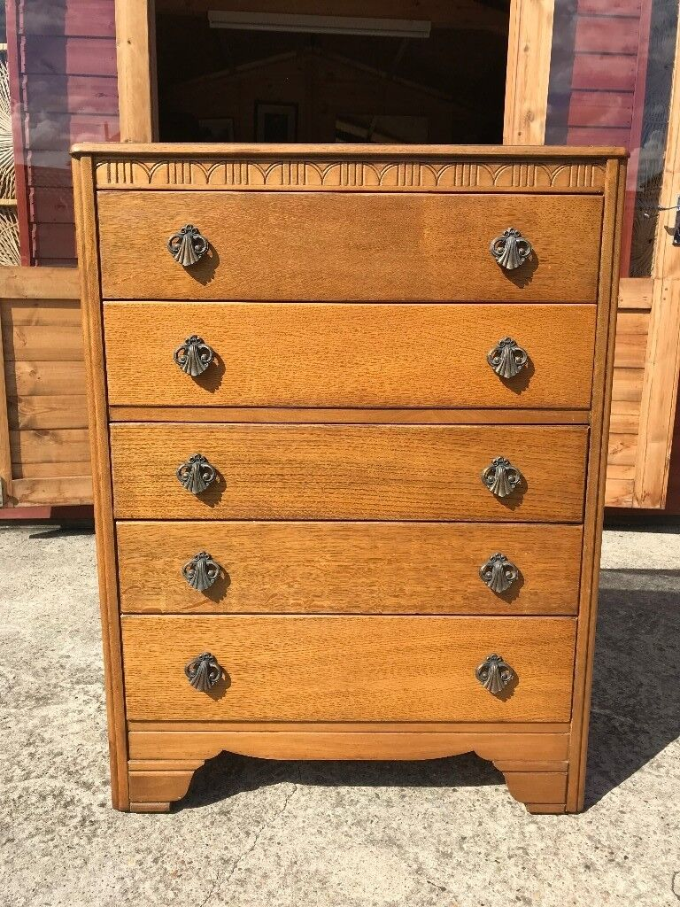 Light Oak Tall Chest Of Drawers 5 1950 S 60 Delivery Available