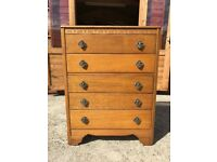 Light Oak Tall Chest Of Drawers 5 Drawers 1950's / 60's - Delivery Available