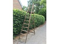 Vintage wooden 9ft step ladder