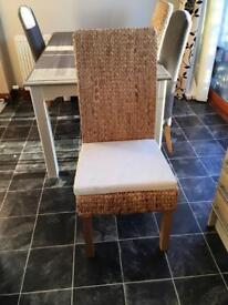 2x rattan dining chairs